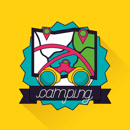 camping sticker map trayectory binoculars ribbon vector illustration