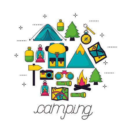 tools for camping nature binoculars compass bag bottle map vector illustration Illustration