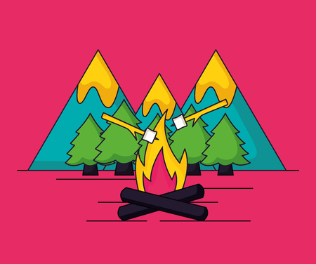 camping wood fire marshmallows sweet nature vector illustration Illusztráció