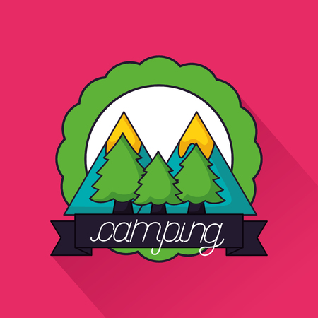 camping sticker alps trees ribbon vector illustration Archivio Fotografico - 112858287