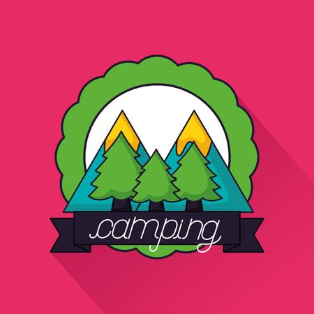 camping sticker alps trees ribbon vector illustration Illustration