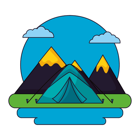 camping clouds sticker carp alps vector illustration Illustration