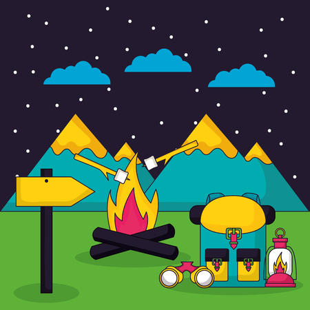 camping nigt alps wood fire bag bottle binoculars sign vector illustration Stockfoto - 127260232