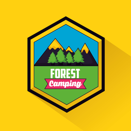 camping shield mountains trees ribbon forest vector illustration Illustration