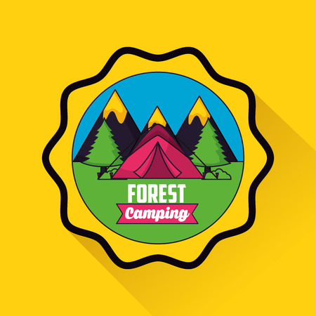 camping sticker mountains carp forest vector illustration