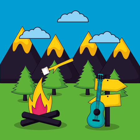 camping clouds wood fire marshmallows guitar sign mountains vector illustration