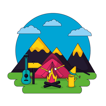 camping sticker clouds mountains guitar sign wood fire vector illustration