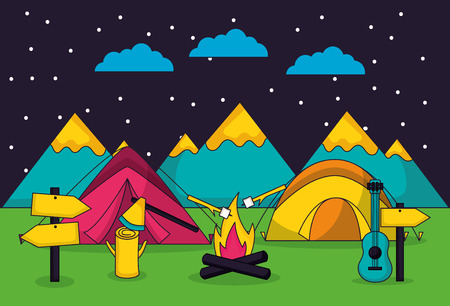 camping night stars carps sign guitar mountains vector illustration