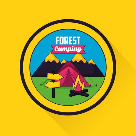 forest camping sticker mountains carp wood fire vector illustration Illusztráció