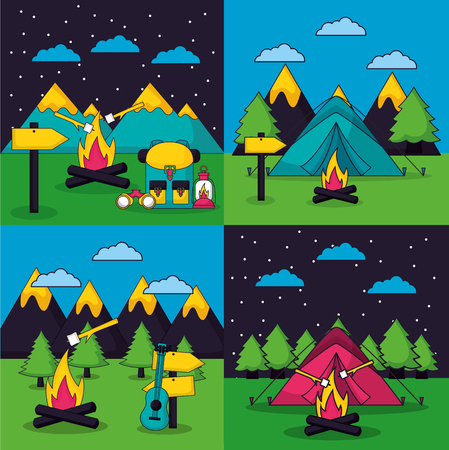 camping carps wood fire clouds stars night wood fire marshmallows vector illustration Ilustração