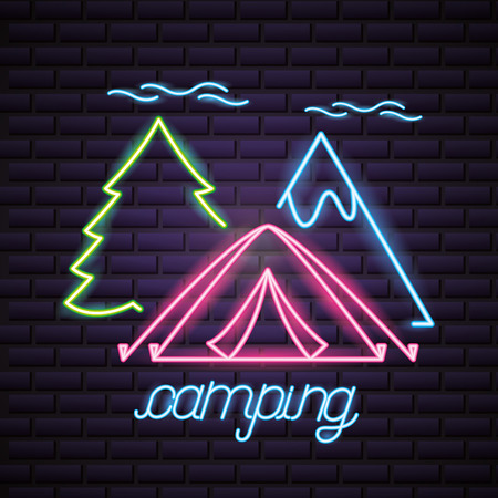 camping clouds tree tent  neon mountain vector illustration Illustration