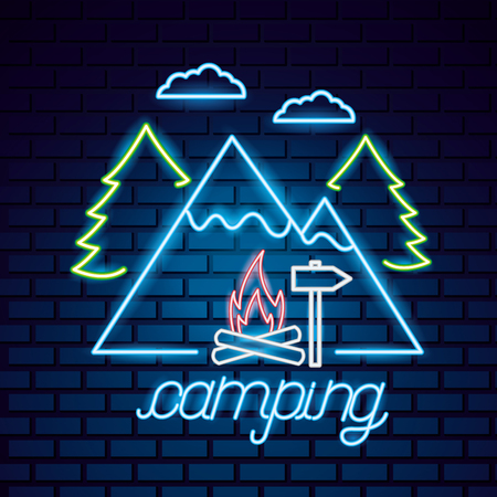 clouds neon mountains wood fire sign camping vector illutration