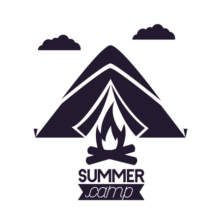 summer camping clouds mountains wood fire vector illustration Ilustração