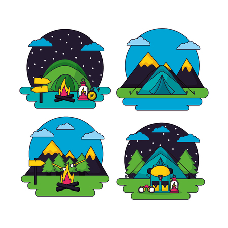 camping stickers sunny day night stars carp bag binoculars marshmallows mountains vector illustration Ilustracja