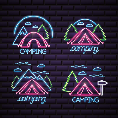 camping carps mountains trees clouds neon style vector illustration