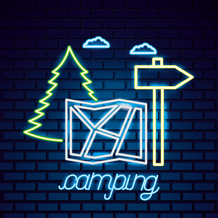 camping sign clouds neon map location vector illustration