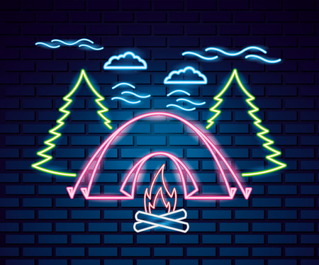 camping clouds trees pink tent  neon wood fire vector illustration
