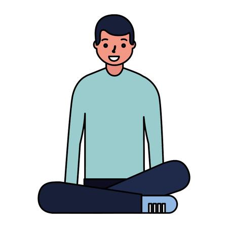man sitting with crossed legs vector illustration