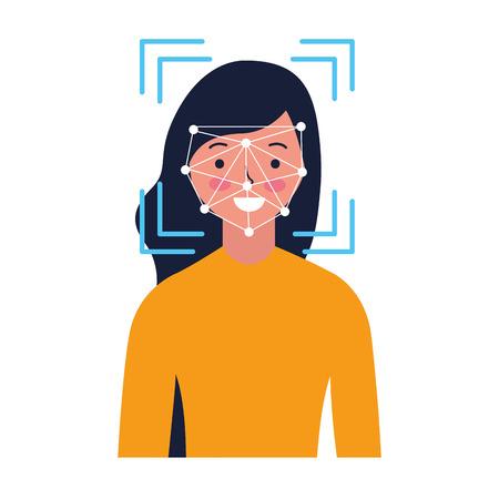 woman face scan process gadget vector illustration Stock Vector - 127260275