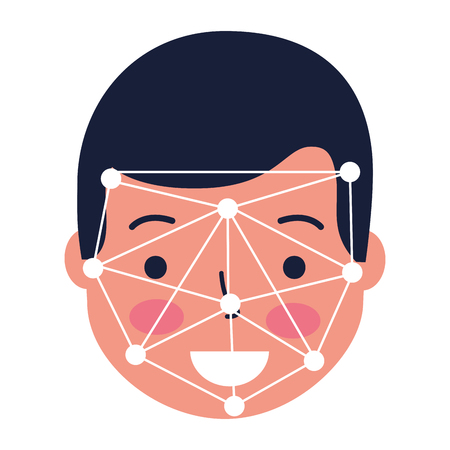 man face scan biometric digital technology vector illustration Standard-Bild - 127260280
