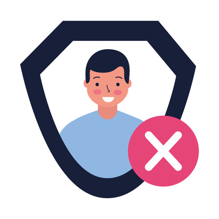 man shield protection error sign vector illustration