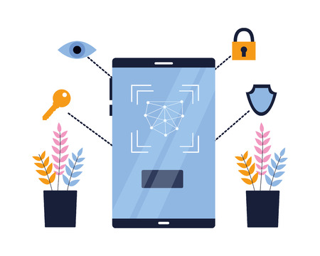 smartphone biometric scan eye security vector illustration