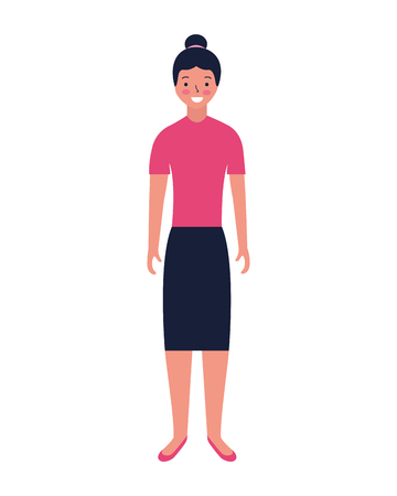 woman standing character white background vector illustration Ilustração