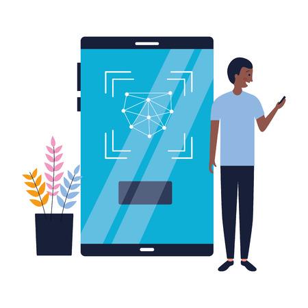 man using mobile biometric face scan vector illustration