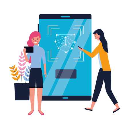 women using smartphone face scan biometric vector illustration