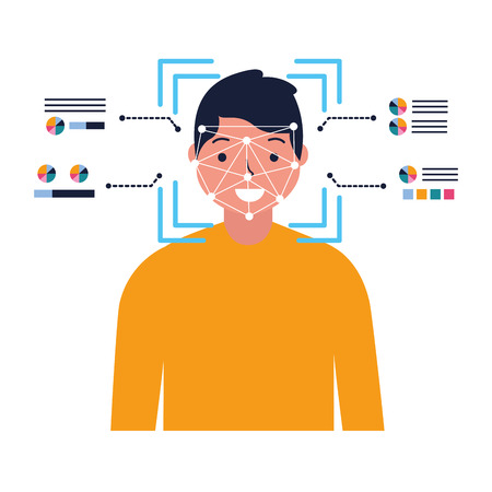 man face scan biometric digital technology vector illustration