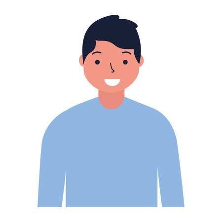 portrait man character on white background vector illustration