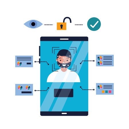 man mobile face scan recognition security approved vector illustration