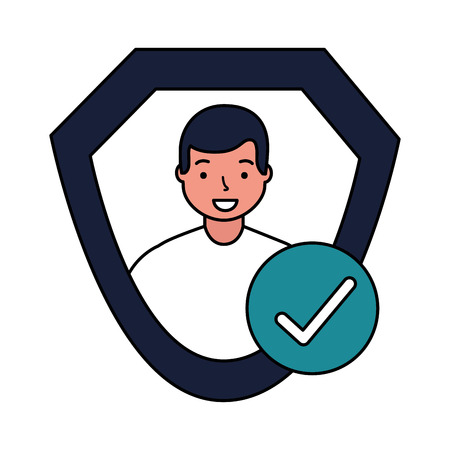 man shield protection approved check mark vector illustration