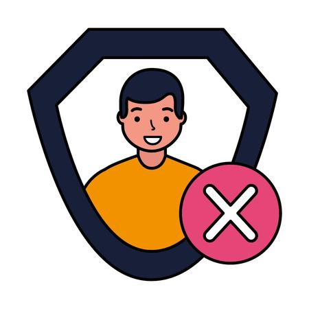man shield protection error sign vector illustration
