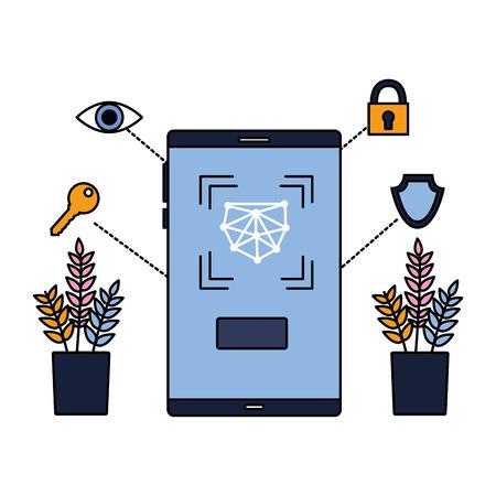 smartphone biometric scan eye security vector illustration Foto de archivo - 127260536