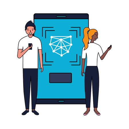 man and woman with mobile face scan vector illustration
