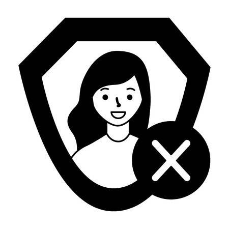 woman shield protection error sign vector illustration  イラスト・ベクター素材