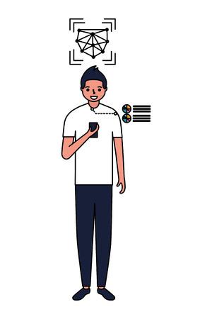 man face scan using mobile digital vector illustration Illustration