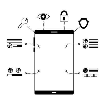 smartphone device security digital scan vector illustration