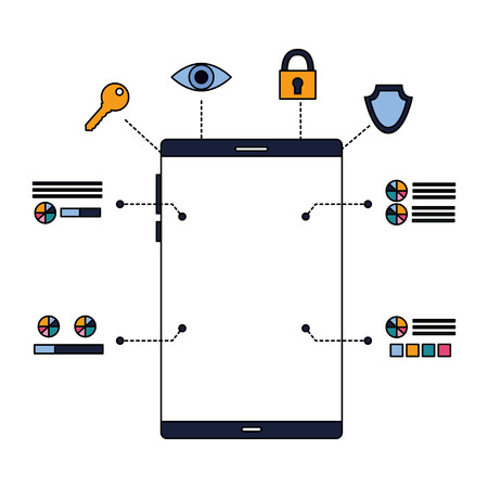 smartphone device security digital scan vector illustration 写真素材 - 127260579