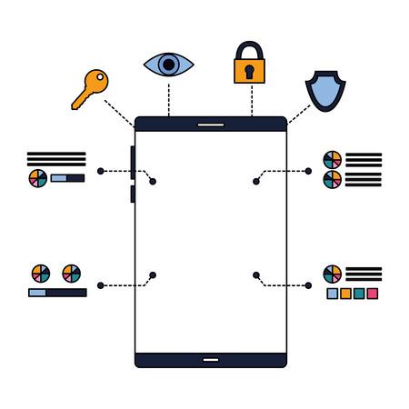 smartphone device security digital scan vector illustration