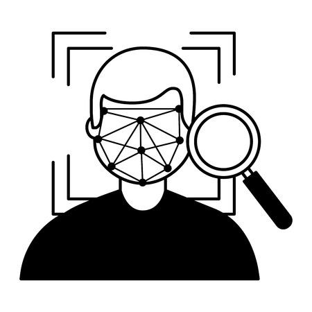 man face scan biometric analysis vector illustration Illustration