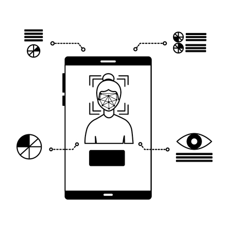 smartphone woman face scan recognition biometric vector illustration