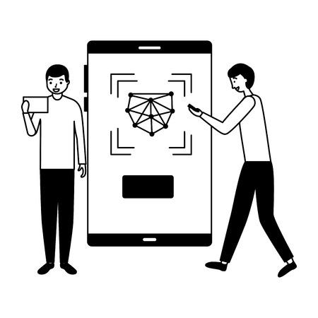 two men with mobile face scan digital vector illustration