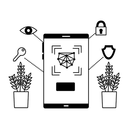 smartphone biometric scan eye security vector illustration