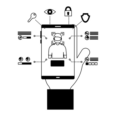 man smartphone face scan access security vector illustration