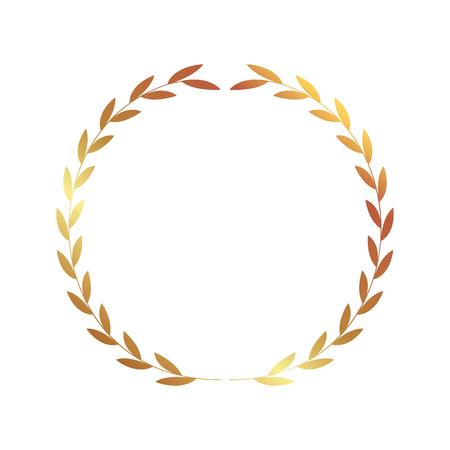golden wreath leaves on white background vector illustration