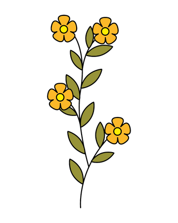 flowers leaves foliage on white background vector illustration