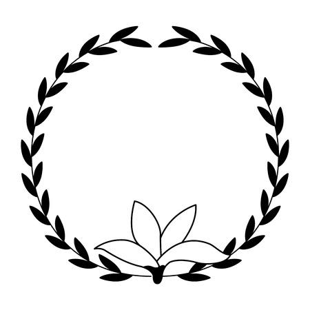 floral wreath flower decoration white background vector illustration Illustration