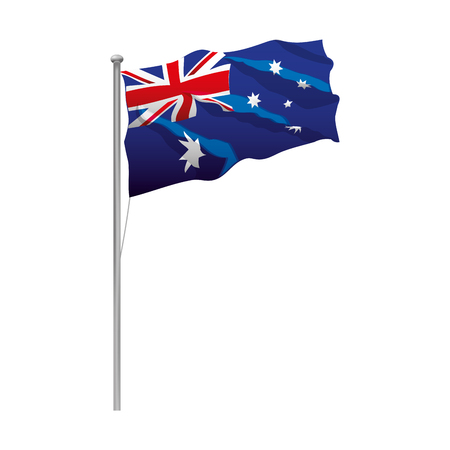 flag in the pole happy australia day Illustration